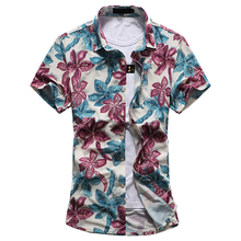 Mens Hawaiian floral shirt 2018 summer fashion high quality luxury stretch mercerized cotton short-sleeved bronzing