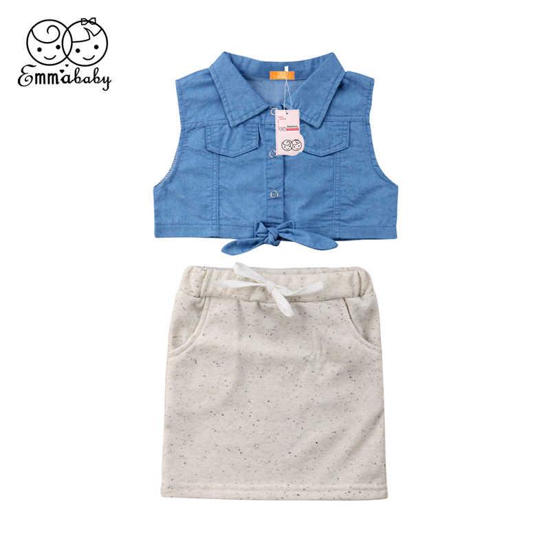 d0f5e1e9387bd3 Fashion Stylish Cute Lovely Summer Baby Girls Outfits Sleeveless Denim Crop  Tops   High Waist Mini
