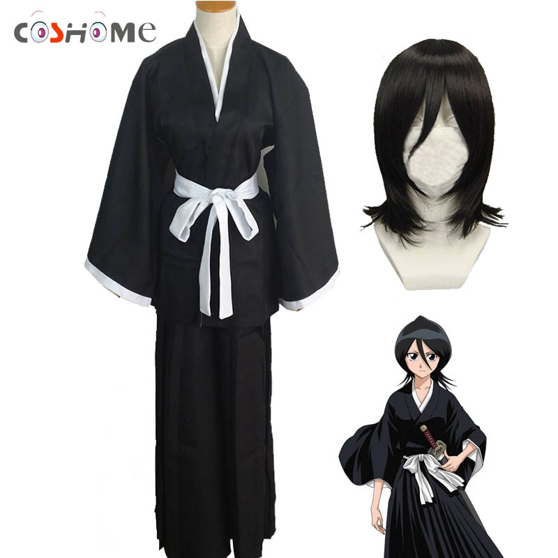 Coshome Bleach Kuchiki Rukia Wigs Cosplay Costumes Black Dress Kimono Set Women Halloween Party Costume