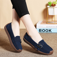 2019 Spring Women Shoes Ballet Flats Leather Oxford Shoes Woman Moccasins Boat Flats Slip On Loafers Ladies Casual Comfortable