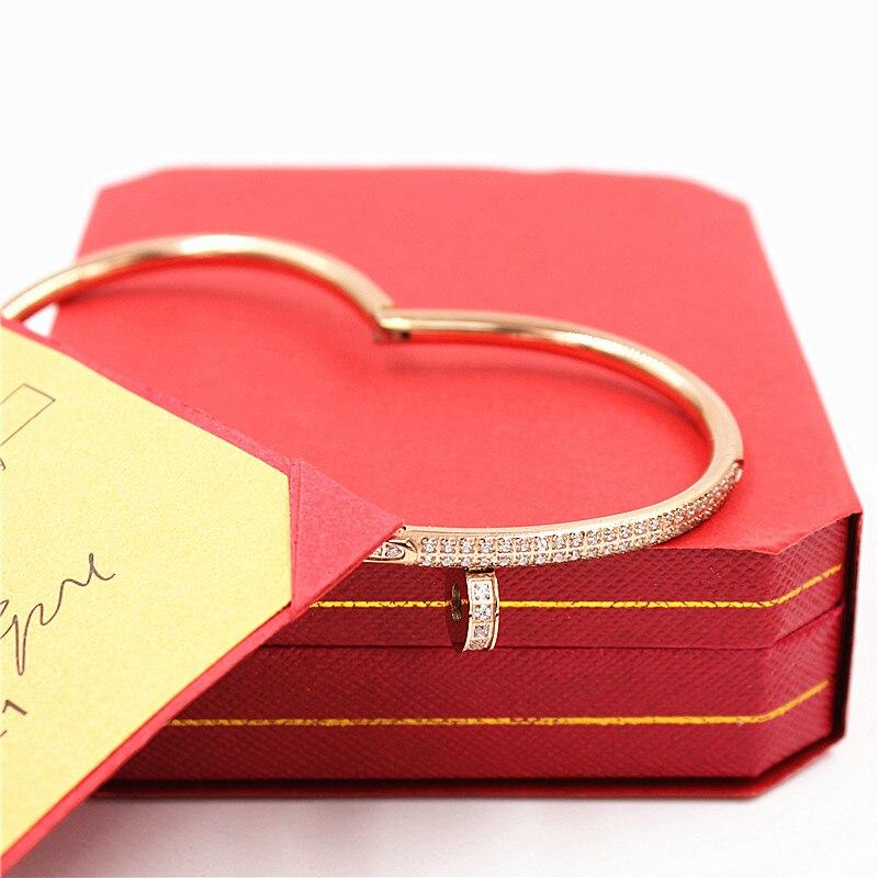 где купить Top Quality Full Crystal Lover Bracelets Bangles Red Original Box Carter Bracelets Never Fade Stainless Steel Jewelry LP020 дешево