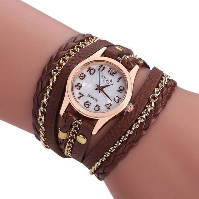 Fashion Brand Bracelet Watches Women Hand-Knitted Leather Strap Wristwatch Ladie