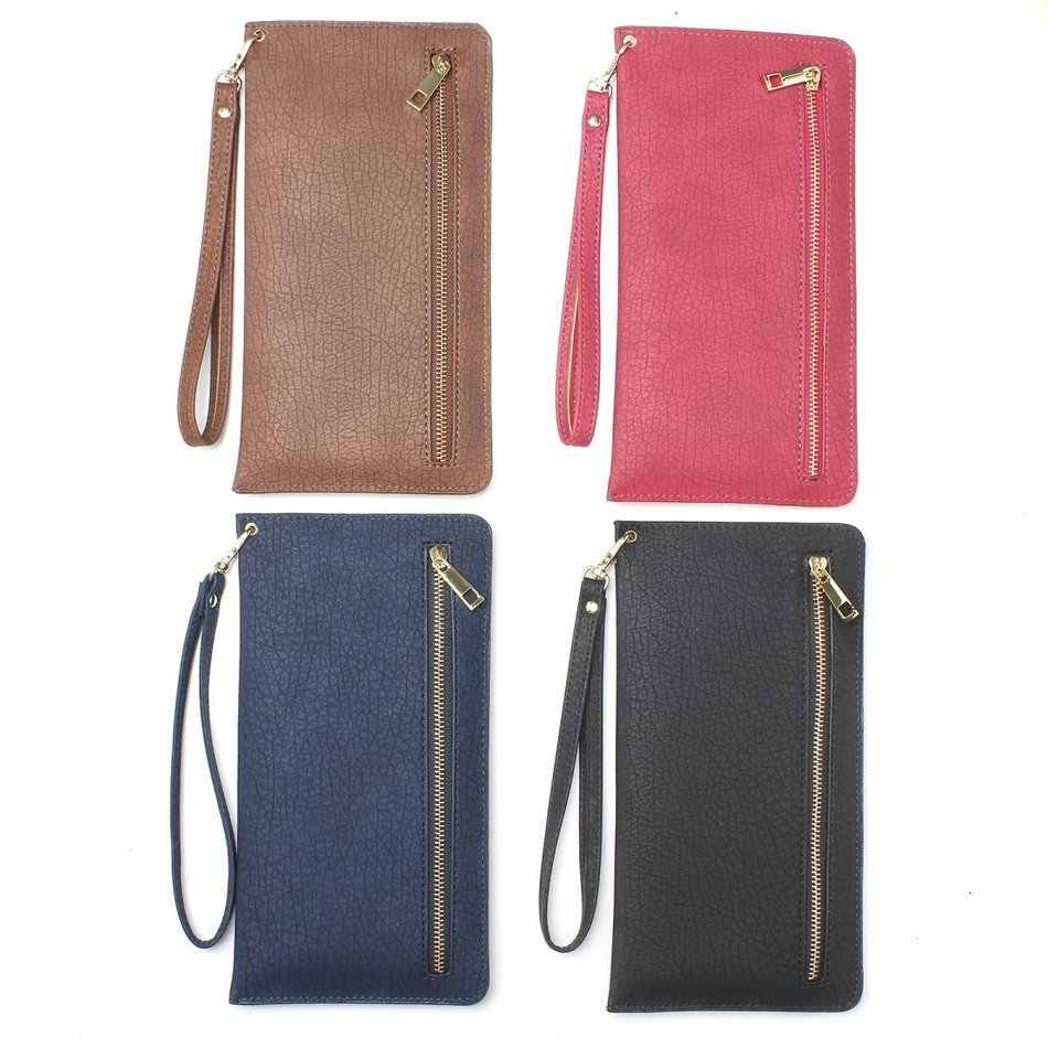 Girl Women Handbag Zipper Wallet Cover With Card Slots Holster Bag PU Leather Case For iphone 7 8 Smartphones