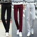 Calças de algodão dos homens 2017 novos homens calças compridas calças de cor sólida calças dos homens terno ocasional tamanho 28-38 dos homens slim fit pantalones