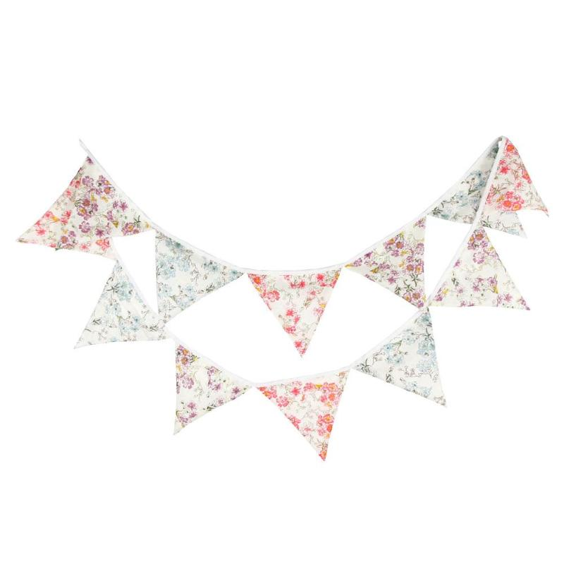 3.2M 12flags Vintage Fabric Bunting Wedding Birthday Party Decoration Baby Shower Photo Prop Room Garden Garland Home Decor