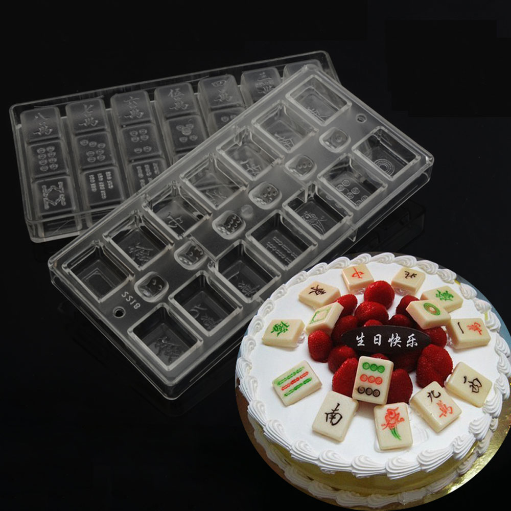 Grainrain DIY Mahjong Shaped Polycarbonate PC Chocolate Mold Ice Mould Jelly Maker