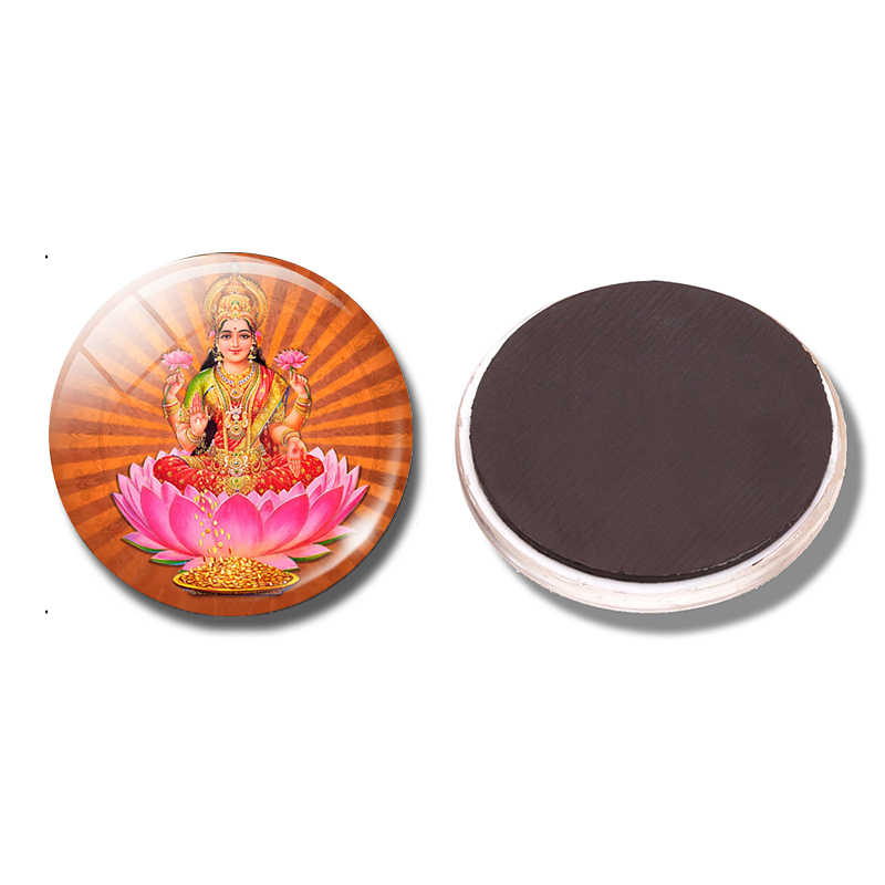 Amulet India Goddess of Wealth Glass Fridge Magnet Lakshmi Gold 30 MM Magnetic Refrigerator Stickers Art Home Decor Kitchen Tool