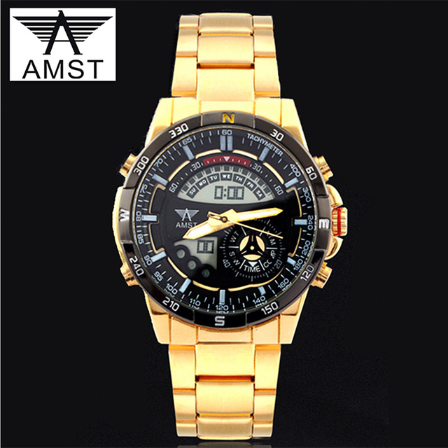 AMST Brand LED Digital Watch Men Sport Military Gold Stainless Steel Quartz Watch Mens Dual Display Wristwatches Reloj Hombre