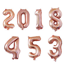 32 inch Rose Gold Number Foil Balloons Birthday Party Decorations Kids Wedding Inflatable Digit Air Ballons Event Party Supplies