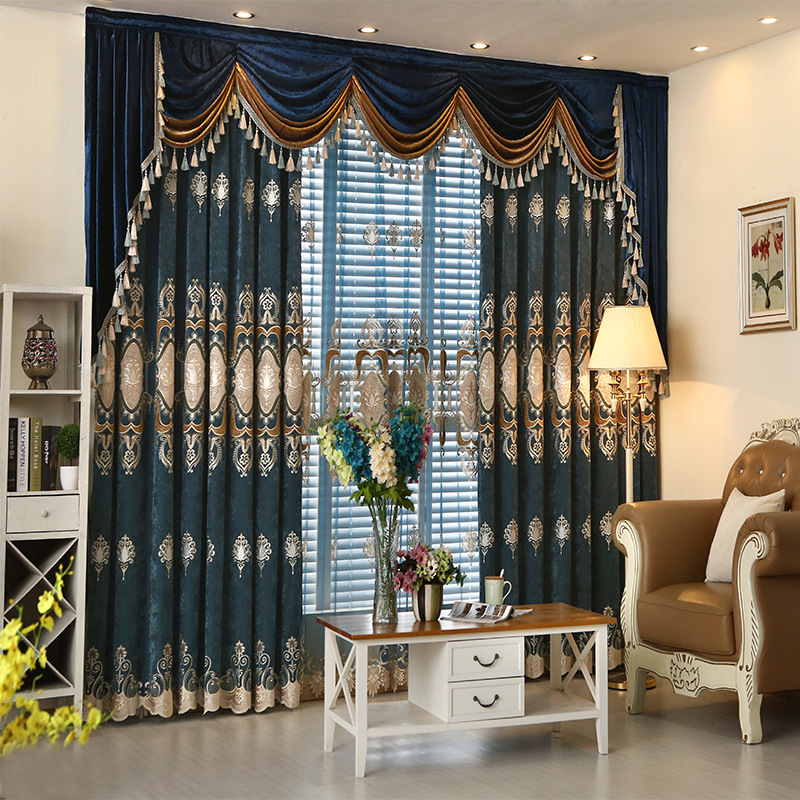 European Key 2 Luxury Chenille Embroidered Patch Of Shade Curtains For Living Dining Room Bedroom