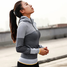 Женская куртка с капюшоном для бега, толстовка с длинным рукавом, женская спортивная куртка на молнии для йоги, фитнеса, спортзала, рубашки, женская Прямая поставка