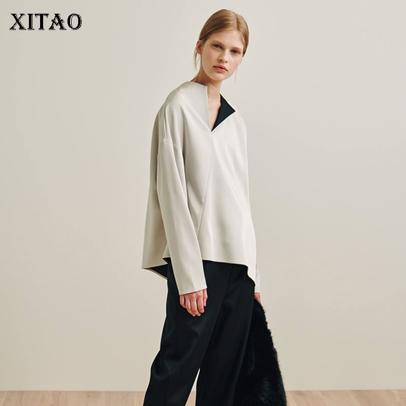 XITAO 2019 Spring New Europe Fashion Women O neck Full Sleeve Casual Shirt Female Solid