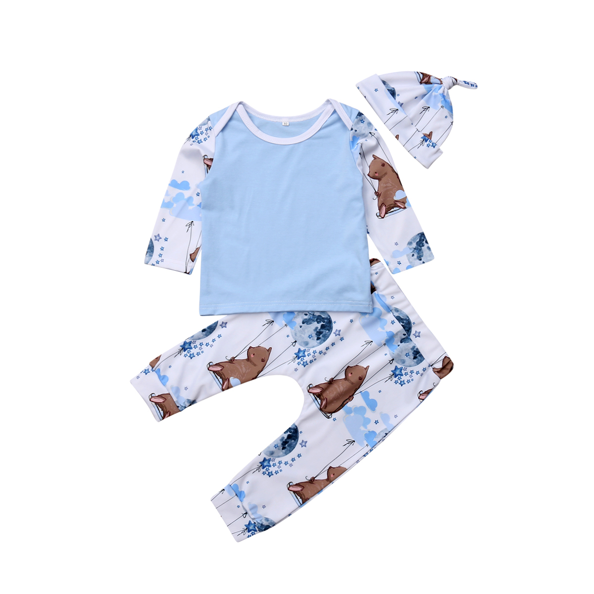 Baby Clothes 3-18M Infant Newborn Boy Girl Long Sleeve Cotton T-shirt Tops Cartoon Animal Print Long Pant Hat 3PCS Autumn Set