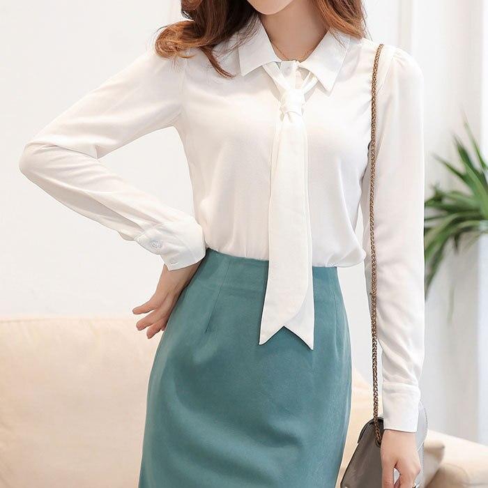 Professional Tie Shirt Women Whie Chiffon Blouse Female Blusas 2018 OL Ladies Outfit Women Clothes S M L XL RWS175055