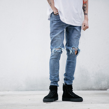 high quality fashion high street mens destroyed jeans hole casual pants fitness slim jogger damage rock star zipper ripped jeans