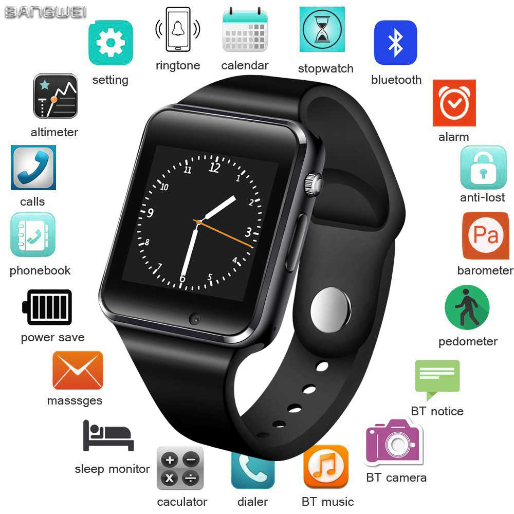LIGE Fashion Men Women Smart Watch Support SIM TF Card Bluetooth Call Pedometer Waterproof Fitness Sport Smartwatch Android+BOX