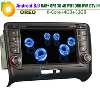Восьмиядерный Android 8,0 Авторадио gps NAVI DVD CD автомобиль радио DAB + TPMS 4 г DVB OBD Wi Fi BT USB SD DVR для AUDI TT MK2 Canbus