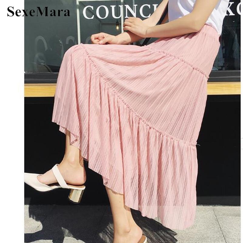 SexeMara 2018 New Summer Ruffle Maxi Skirt Fashion Mesh Long Skirts Womens Casual Elastic High Waist Women Skirt