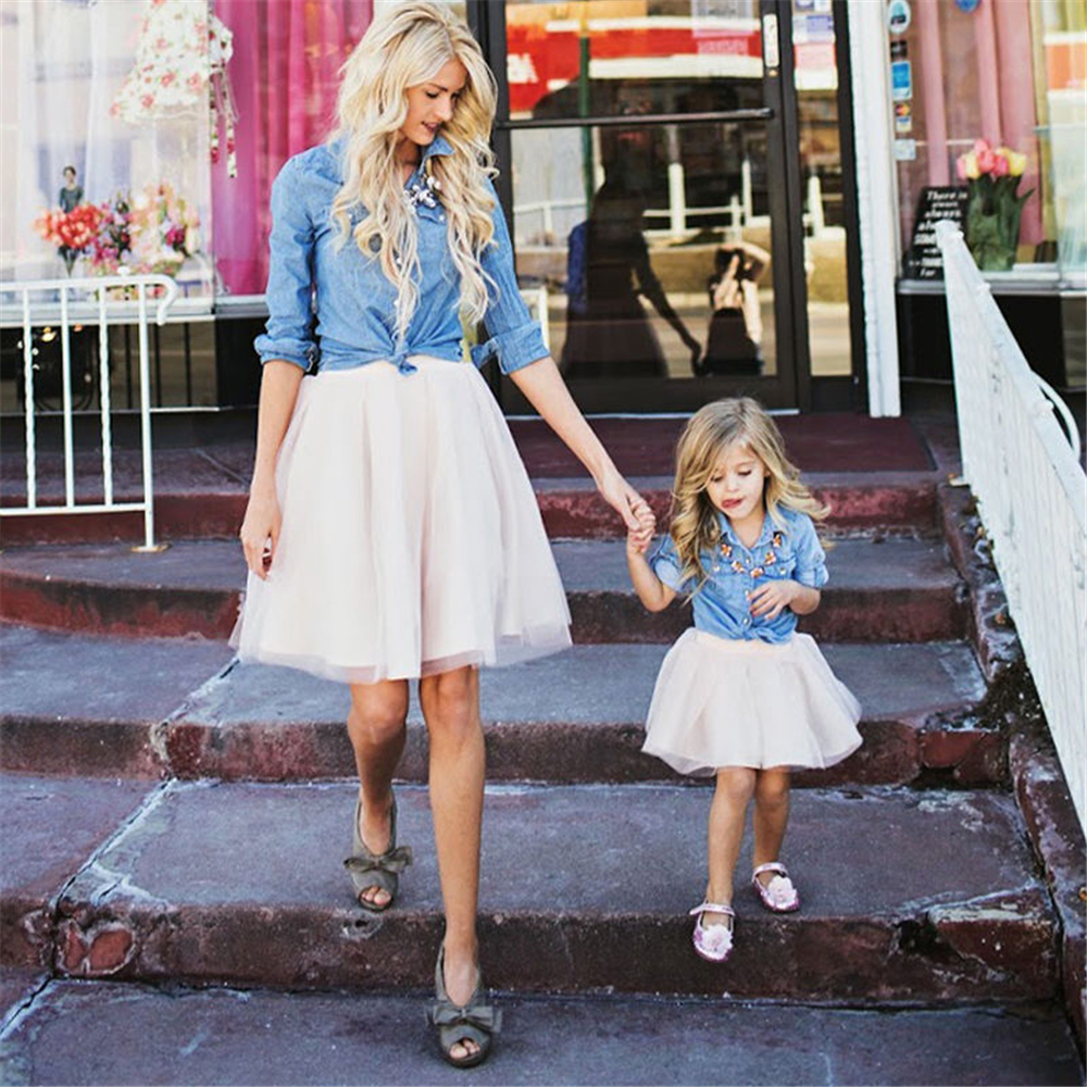 2018 Mother & Kids Clothing Set Matching Outfits Mommy and Me Fashion Clothes Mom Daughter Denim shirt White Tulle Tutus Skirt ...