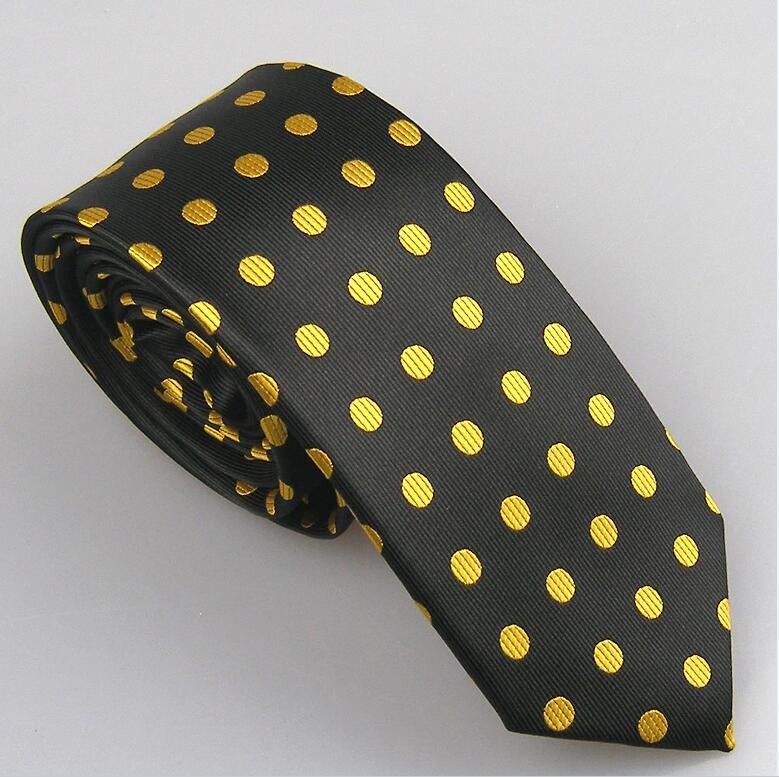 Lammulin Для Мужчин's Галстуки для костюма в точка жаккарда тканый шейный платок из микрофибры узкий галстук 6 см свадебные туфли, 10 цветов на выбор, брендовый мужской - Цвет: black w yellow