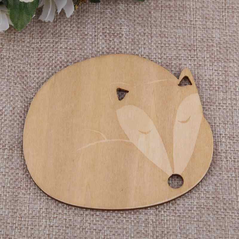 Cute Cat Fox Dog Deer Wooden Carved Cup Mug Coasters Pad Bar Tea Coffee Drink Wine Cup Mat Pad Holder Table Decoration