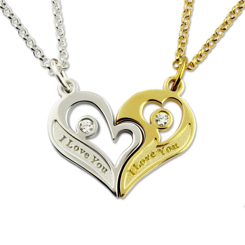 Pair Necklaces for Lovers Couple Breakable Heart Love Necklace With Birthstone Custom Letter Engraving Chain Silver Collares
