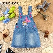 Bosudhsou Filles Jeans Jupe Bébé Fille Denim Jupe Chat Denims Filles Bretelles Salopette Bébé Fille 1-4 Y Enfants vêtements YL-2