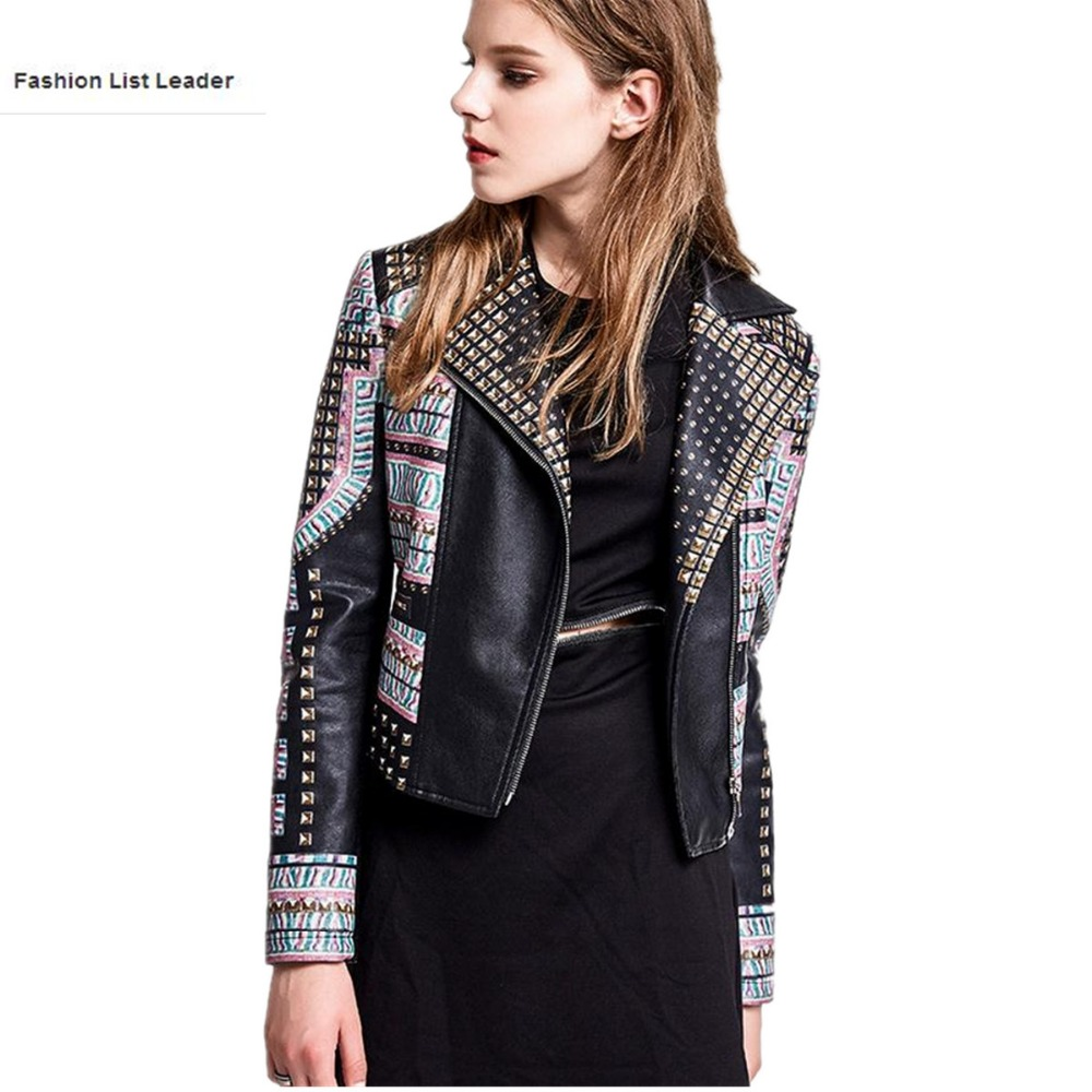 2017 Spring autumn Fashion brand Good Quality 3D Print pattern leather jacket Ladies Street style PU Leather Jacket wj1078