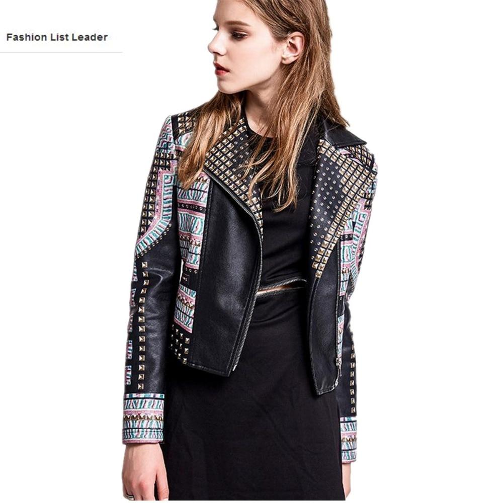 2017 Spring autumn Fashion brand Good Quality 3D Print pattern leather jacket Ladies Street style PU Leather Jacket wj1078