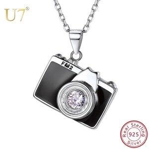 Image 1 - U7 925 Sterling Silver Camera Black Enamel CZ Pendant Necklace for Women Bridesmaid Photographer Gift 2018 New Fashion Design