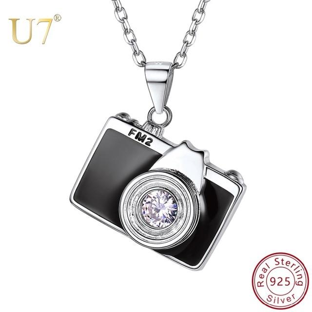 U7 925 Sterling Silver Camera Black Enamel CZ Pendant Necklace for Women Bridesmaid Photographer Gift 2018 New Fashion Design