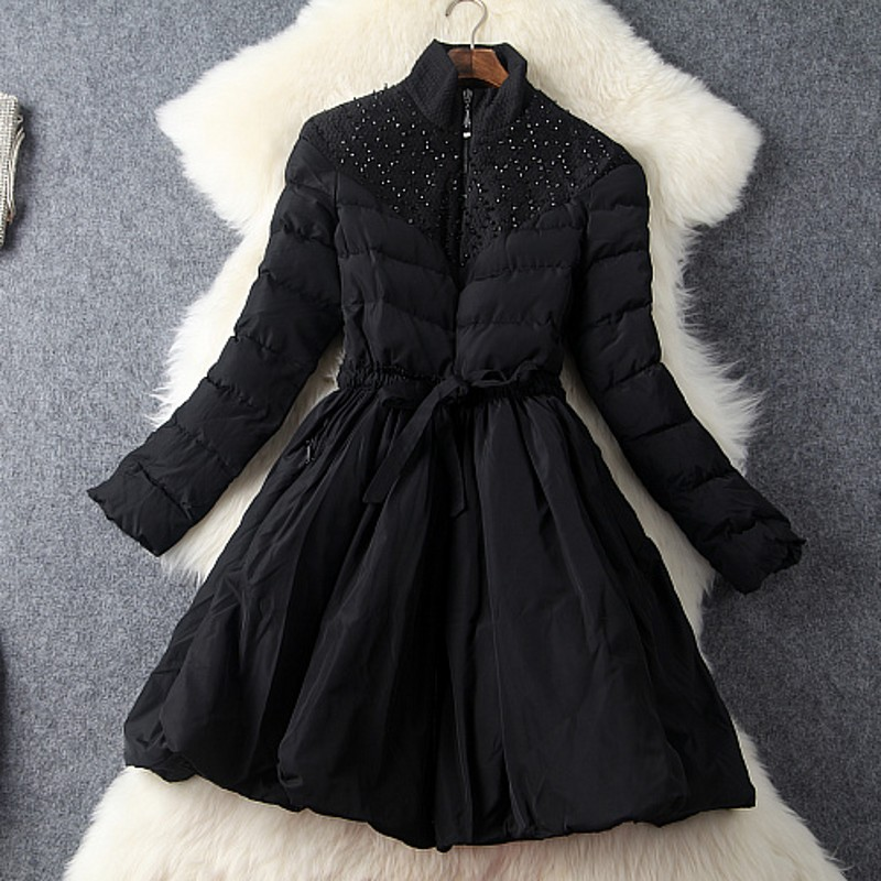 Europe and the United States women's new autumn 2016 Favors heavy hammer bead stitching big cotton-padded jacket coat foreign trade of the original single girl yang gaori clothing europe and the united states in the big children s cotton padded j