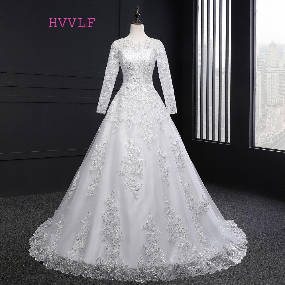 Vestido De Noiva 2019 musulmanes vestidos de novia una línea de manga larga apliques de encaje vestido de boda de la vendimia vestidos de novia fotos reales