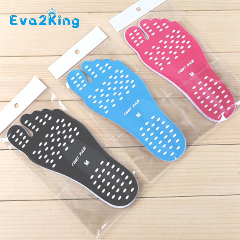 Eva2king Soft Adhesive Beach Insoles Comfortable Waterproof Invisible Anti-skid Foot Patch Pads Beach Feet Protection Shoes