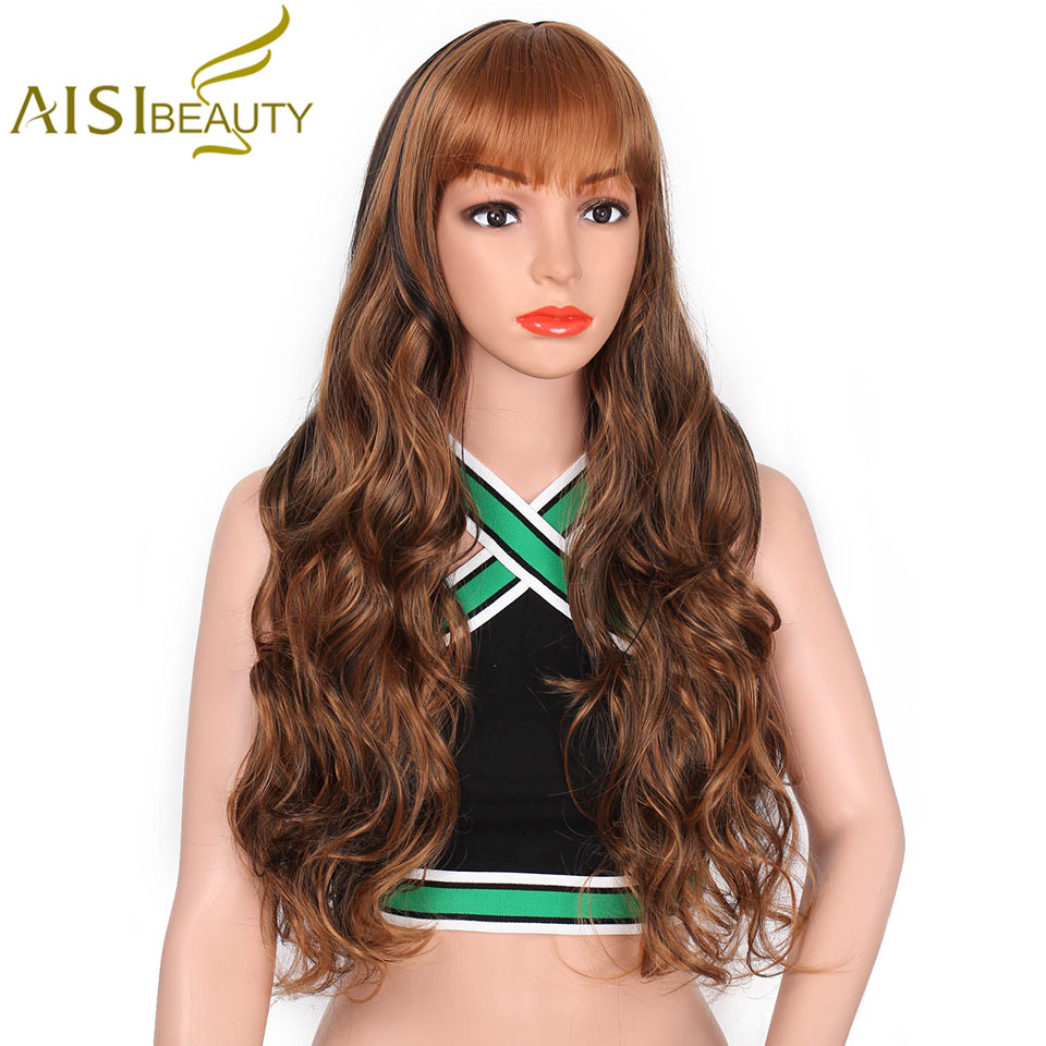 AISI BEAUTY 24 Long Wavy Wig Black Red Brown Hair With Bangs Glueless Synthetic Wigs for Women Heat Resistant Full Wig
