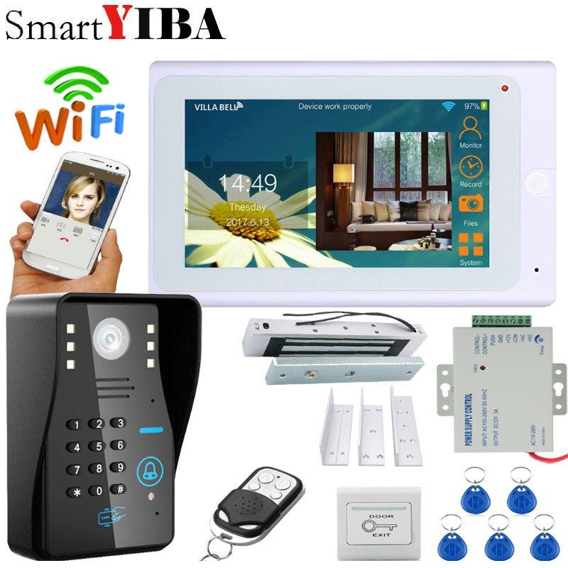 SmartYIBA Video Intercom 7 Inch Monitor Wifi Wireless Video Door Phone Doorbell Camera Intercom System APP With Door Lock