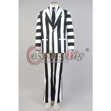 Cosplaydiy Custom Made Beetlejuice Fancy Dress Suit Costume For Halloween Cosplay Costume