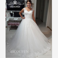 OKOUFEN Modest Lace Puffy Wedding Dress With Dresses For
