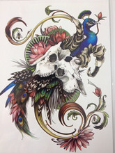 21 X 15 CM Peacock And Flower Sexy Cool Beauty Tattoo Waterproof Hot Temporary Tattoo Stickers#164