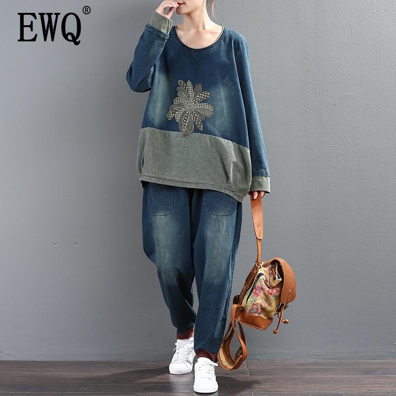 [EWQ]New Spring 2019 Fashion Long Sleeve Round Collar Print T-shirt  Elastic Waist Full Length Pants Loose Denim Set Women AA612