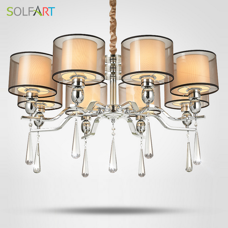 solfart lamp chandelier lighting for bedroom as pendant with smoky crystal fabric shade chrome. Black Bedroom Furniture Sets. Home Design Ideas