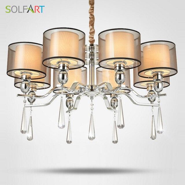 SOLFART Lampe Kronleuchter Beleuchtung Für Schlafzimmer Als Anhänger Mit  Smoky Kristall Stoffschirm Chrome Led Kronleuchter Licht