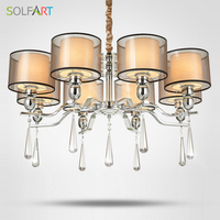 SOLFART Lamp Chandelier Lighting For Bedroom As Pendant With Smoky Crystal Fabric Shade Chrome Led Chandeliers