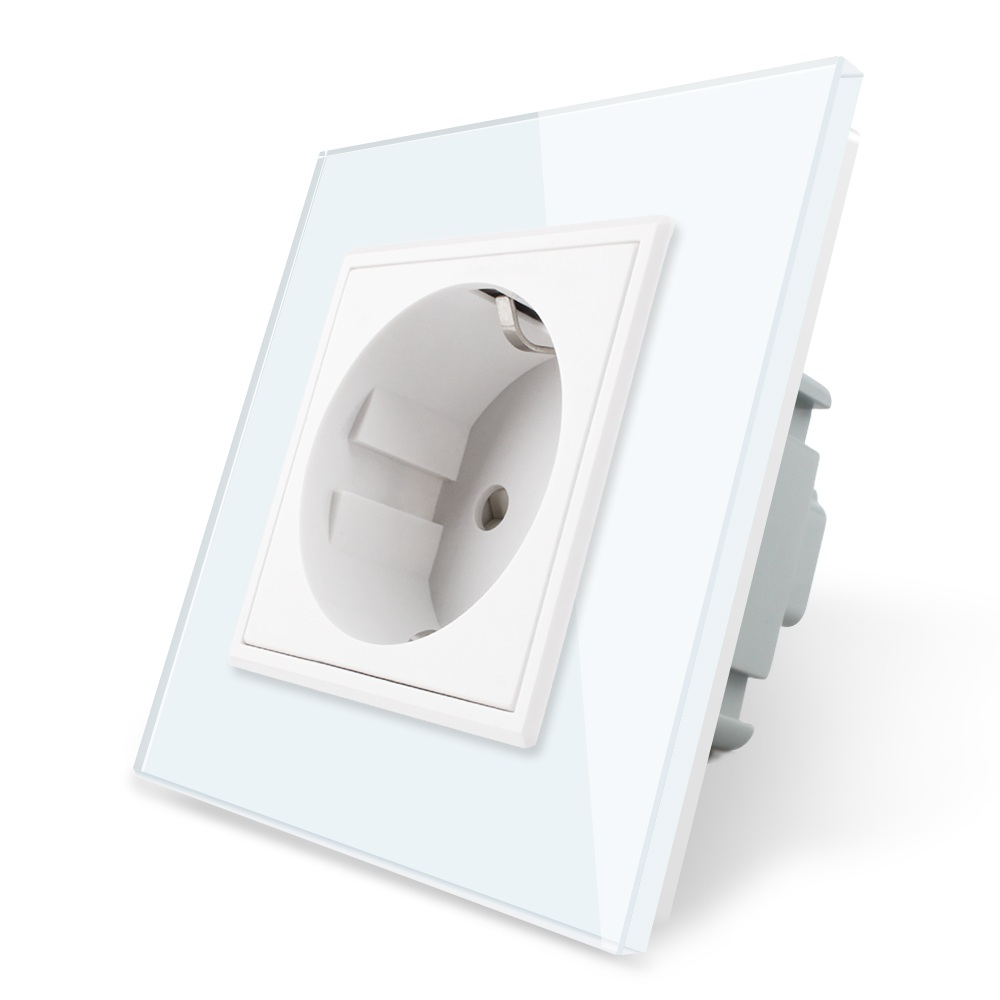 Livolo EU Standard Power Socket, White Crystal Glass Panel, AC 110~250V 16A Wall Power Socket, VL-C7C1EU-11, Free Shipping 250v 16a eu de standard distribution box guide rail socket modular socket power outlet 2p e free shipping frcap7
