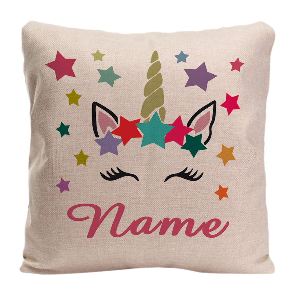 <font><b>Unicorn</b></font> With Colorful Stars Back Throw Pillow Case Decorative <font><b>Cushion</b></font> <font><b>Cover</b></font> Custom Name Pillowcase By LVSURE For Car Sofa image