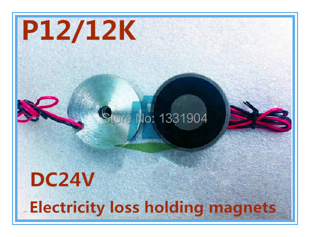 2PCS/LOT P12/12K electricity loss Round Electro Holding Magnet DC24V, DC solenoid electromagnetic,magent break after electrified p100 40 round electro holding magnet dc24v dc solenoid electromagnetic mini round electro holding magnet