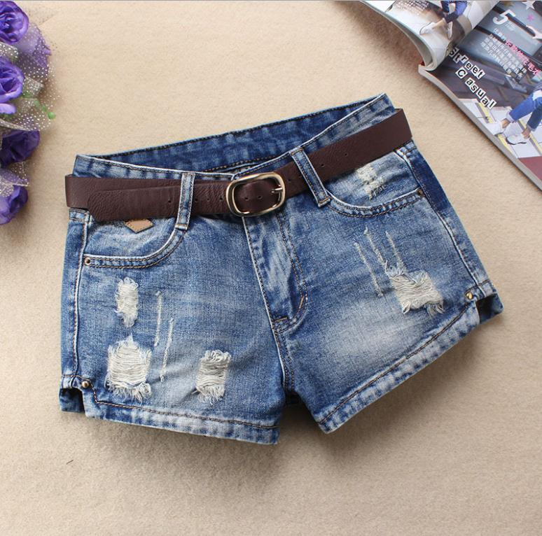 Womens Spring And Summer Denim   Shorts   Large Size Ripped Hole Loose Jeams Jeans   Shorts   Large Size Casual   Short   Without Belt J2740