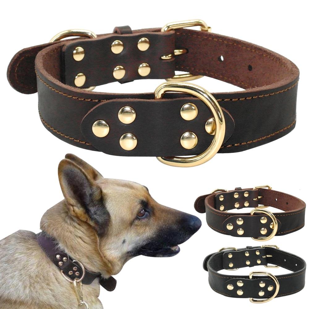 Valódi bőr kutya nyakörv K9 munka kutya kisállat tréning gallérok nagy teherbírású közepes nagy kutyák német juhász barna színű