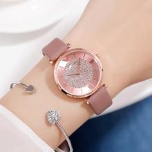 Ladies Casual Watch 2019 Women Pink Leather Strap Quartz Wristwatches Luxury Brand Women's Crystal Fashion Bracelet Clock Gift все цены