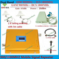 LCD Reforço! Dual Band GSM Repetidor 1800 MHz + 2G GSM 900 MHZ Cell Phone Signal Booster Amplificador Repetidor + 2 casas indoor antena